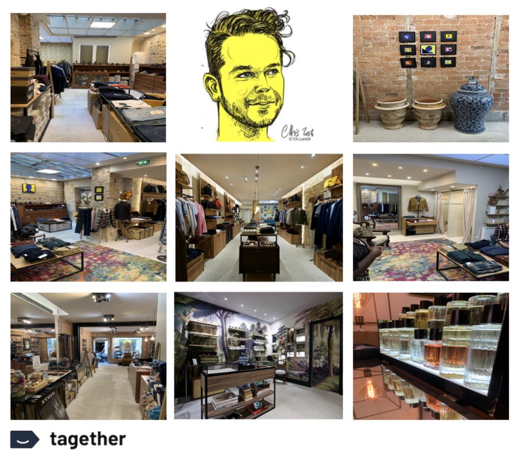 Plusieurs photos de l'intérieur de la boutique Harold dans le Marais. Boutique homme et accessoire désormais sur Tagether.